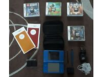 Midnight blue NINTENDO DSI XL + accessories and 4 games