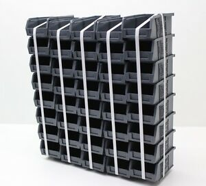 40 x Very Good Condition Plastic Parts Storage Bins Boxes - Grey Size 2