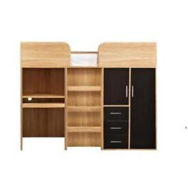 High-sleeper with desk and storage and wardrobe