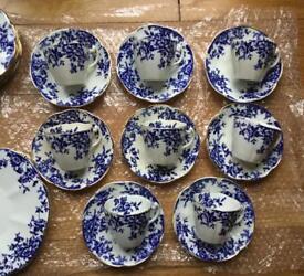 Fine Bone China Tea Set 1950's, White & Blue