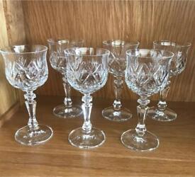6 crystal sherry shot liqueur glasses