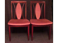 Two G Plan dining chairs - pink plush seats