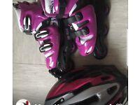 Kids Roller skates and Helme
