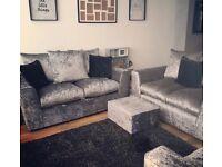 Crushed Velvet Sofas, 3+2+1+footstall
