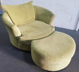 Chenille DFS Swivel Chair & Footsool.Can Deliver