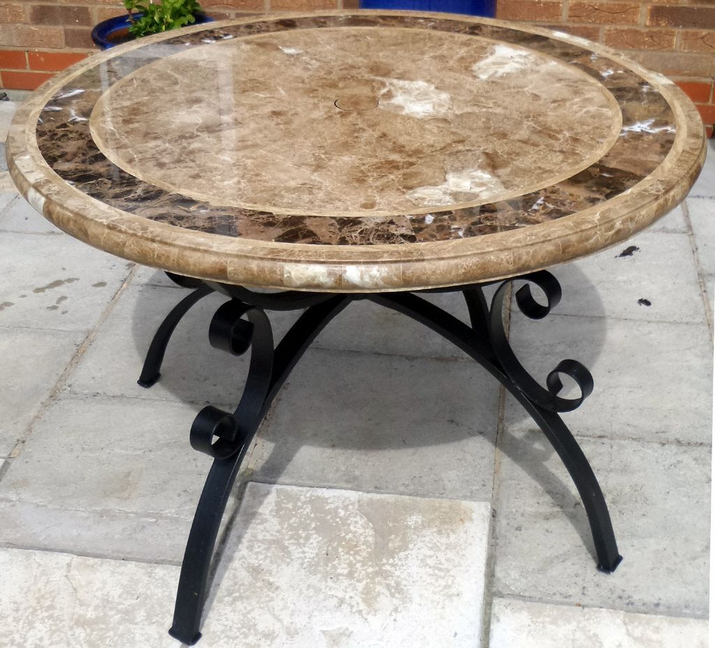 marble top garden table 110cm - Garden Furniture Yate