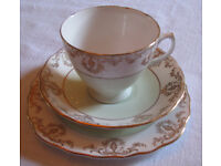 Royal Vale bone china tea set in peppermint green, white and gold