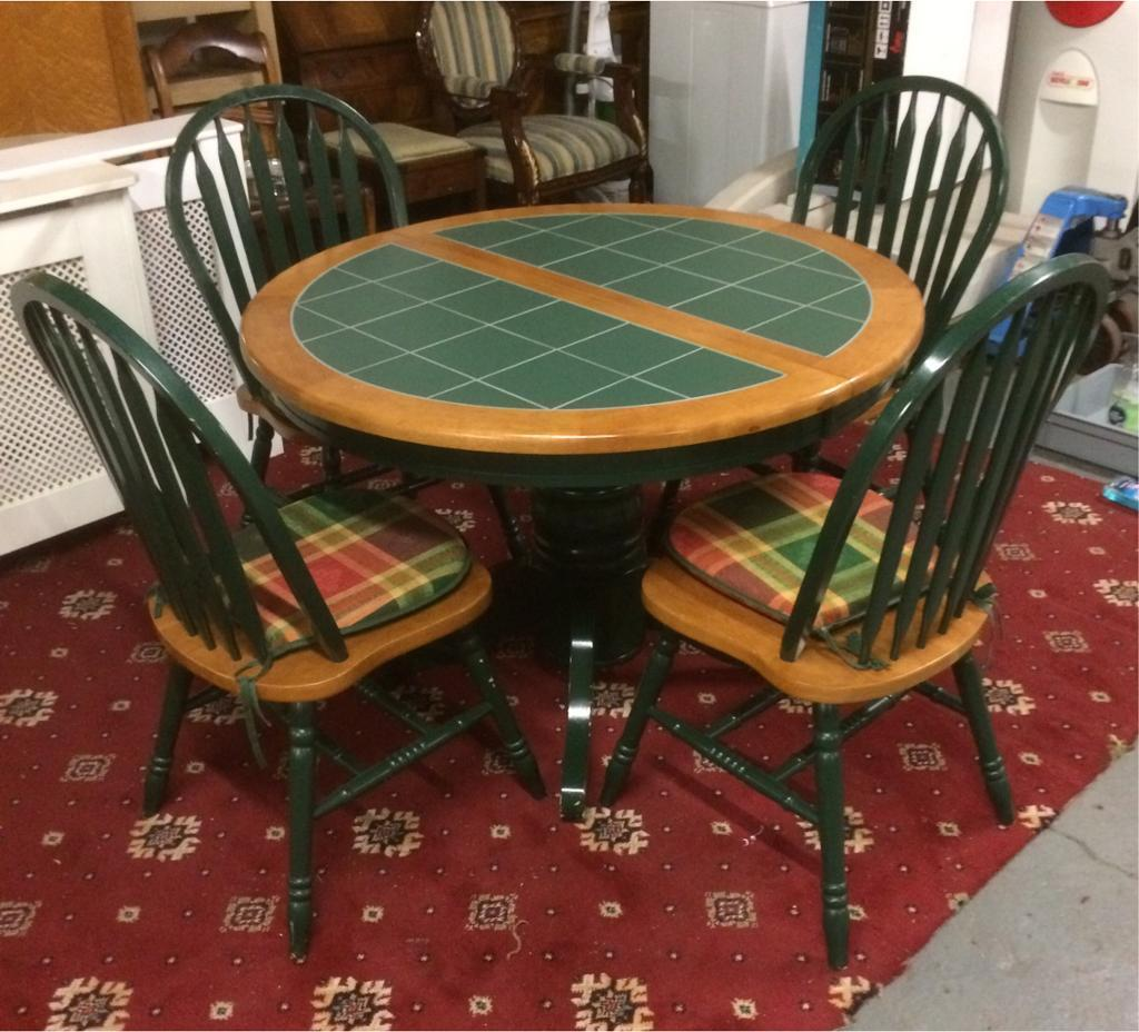 Extendable Green Tile Top Dining Table And Chairs Price Reduced