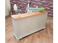 Beautiful Shabby Chic 3 Door Sideboard with Crystal Heart Knobs - Farrow and Ball Old White No. 4