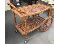 1960's Carved Oak Tea Trolley