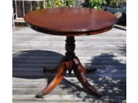 "Quality inlaid mahogany tilt (tilting) top table 36"" (92cms) diameter claw feet"