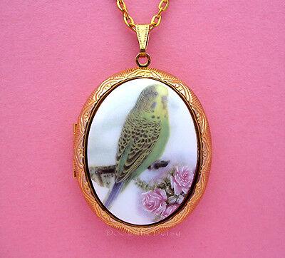 Porcelain GREEN PARAKEET & ROSE CAMEO Locket Pendant Necklace for Birthday Gift