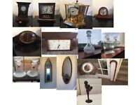 House Clearance (Walking sticks, coins, decanters, clocks, ornaments, jewellery)