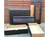 double bed. Faux leather. Matching 2 large underbed drawers. Black. Good quality. In used condition.