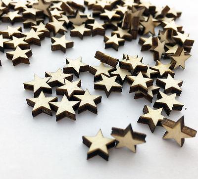 ular 100pcs Wooden Blank Small Star Shapes Embellishments Crafts CVG - Wooden Star