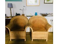 2 matching whicker chairs in very good condition