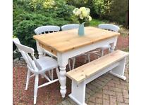 Farmhouse Pine Table, Chairs & Bench