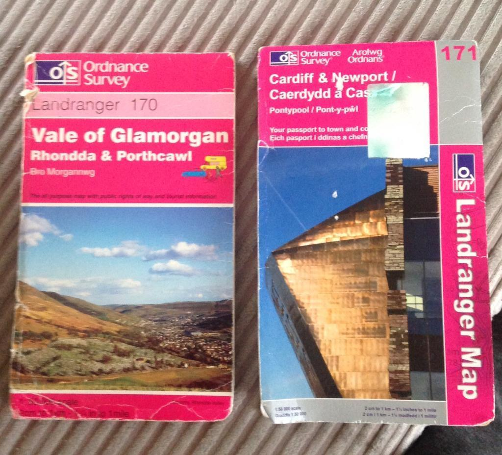 OS 50k Maps Shts 170 & 171 - Vale of Glam & Cdf/Newport.