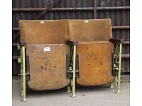 A Pair of Vintage Art Deco C1930s Mustard Velvet Cinema Theatre Seats REF109 UK Delivery Available