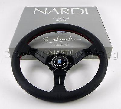Nardi Steering Wheel Deep Dish Corn Racing 330mm Black Perf Leather Classic Horn