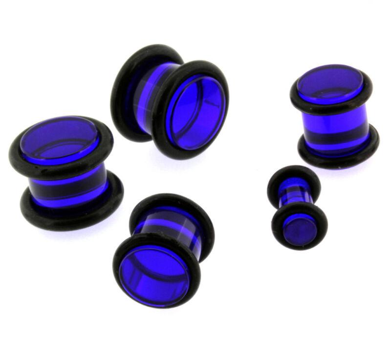 Blue Acrylic Double Flare Ear Strechers Plugs Tunnels Gauges 8G,6G,4G,2G,0G,00G