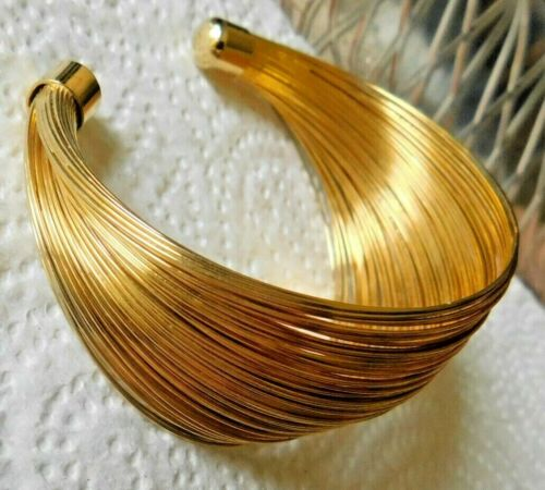 """Multi Many Gold Wire Strand Cuff Bracelet About 1.5"""" W Gold Tone Metal Lovely"""