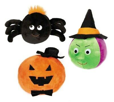 Halloween Gang Dog Toy Plush Ball Shape Scary Silly Pick Witch Spider or Pumpkin