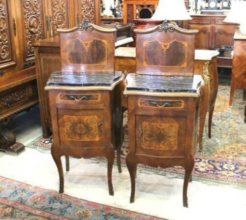 French Antique Pair Of Louis XV Inlaid Walnut Nightstand