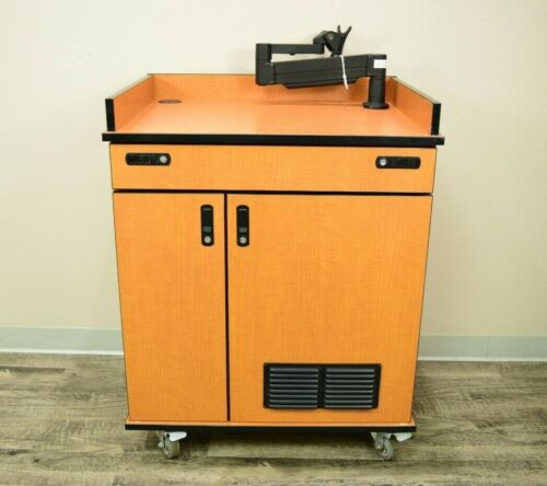 Podium Lectern Cabinet with Speakers Keyboard Tray and Monitor Mount
