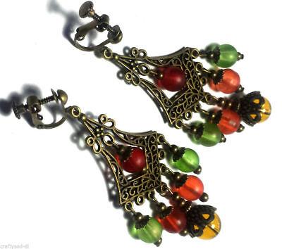 Colourful Bronze Clip-On Earrings Chandelier Drop Dangle Antique Vintage Style