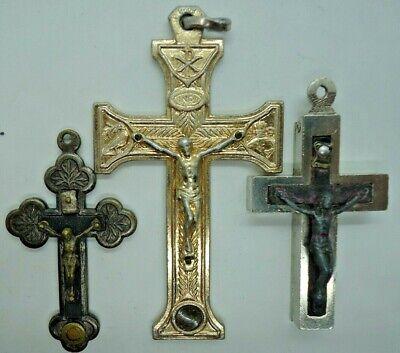 4 pcs antique metal  Reliquary  miniature  statue 0ur lady with rosewood art deco cross crucifix