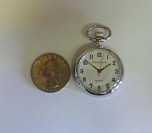 Delweaco miniature Pocket Pendant Watch, Quartz battery watch. Silver color, NEW