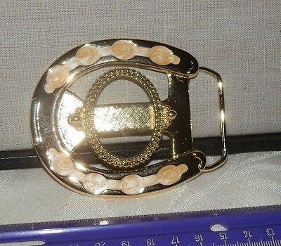 Vtg Horseshoe Gold & White Belt Buckle Blank w/ 39mm x 30mm Oval Bezel Mount NOS