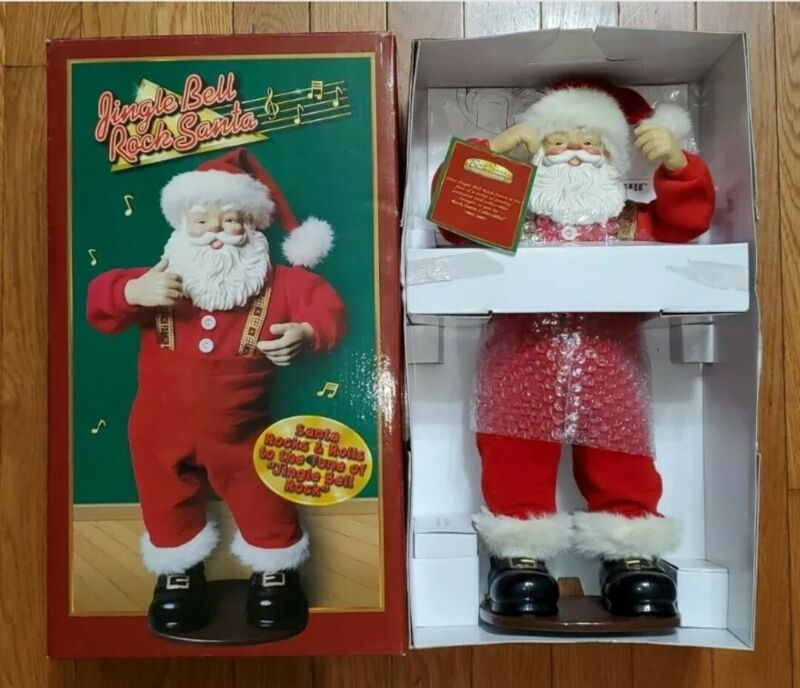 VINTAGE 1998 JINGLE BELL ROCK SANTA ANIMATED DANCING 1ST EDITION NEW IN BOX