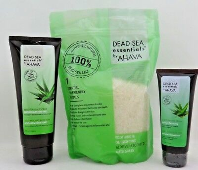 Dead Sea Essentials by AHAVA Aloe Vera Hand Cream 7.5 Fl oz/3.4 fl oz/ Bath Salt Aloe Vera Salt Cream