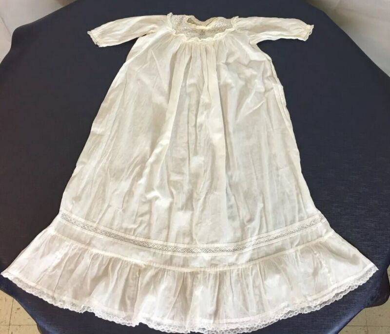 Victorian Antique Christening fine gown white organdy, lace & embroidery pintuck