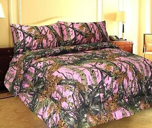 Pink Bedding Sheet Full Size Set Premium Microfiber Camo 4 Piece Nature Woods