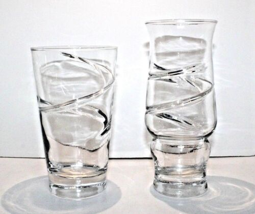 Two Vintage Anchor Hocking RARE Spiral Clear Glass Tumblers MOLD FACTORY ERROR
