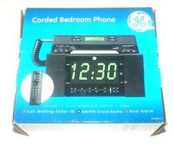 GE 29298FE1 Corded Bedroom Phone & AM/FM Clock Radio with Dual Alarm NEW