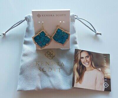 Kendra Scott Kirsten In Marbled Aqua Drop Earring *Brand New*