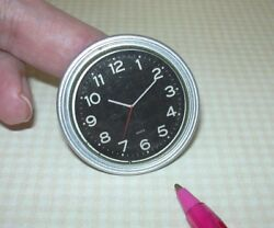Miniature EXTRA LARGE Silver Wall Clock, w/BLACK Face: DOLLHOUSE 1:6 (Barbie)