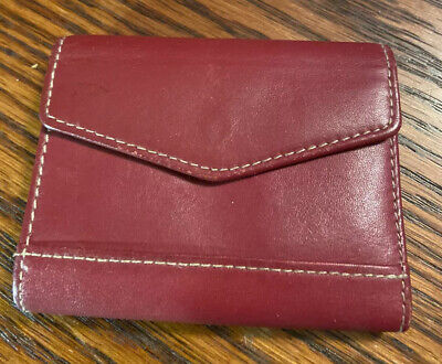 Red Buxton Leather Business Card Holder-gently Used