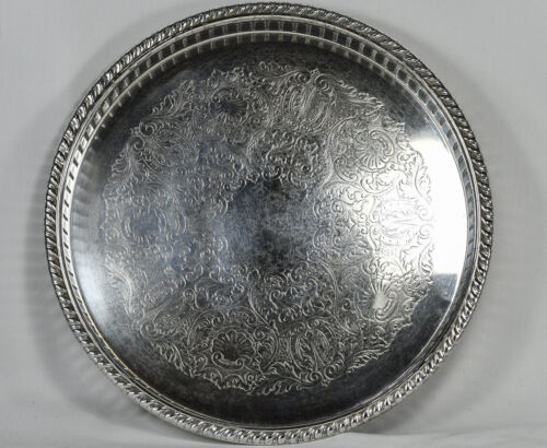 Vintage F. B. Rogers Silver Serving Tray Round Etched #158 - 10 Inches