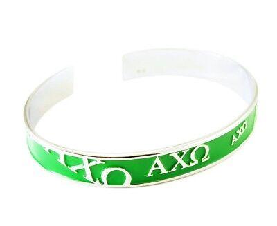 Alpha Chi Omega Sorority Jewelry/Custom Fit Bangle Cuff Bracelet (Green) NEW!*** Alpha Omega Jewelry
