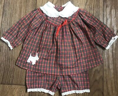 Vintage Something Pretty Baby Girls Red Plaid Christmas Scotty Dog Outfit 6