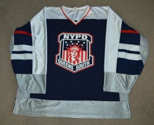 NYPD Queens South Game Worn Used Hockey Jersey 2XL NYC