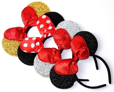 (4 Minnie Mouse  Red Silver Bow-Mickey Mouse Ears Headband Disney adult/kid)
