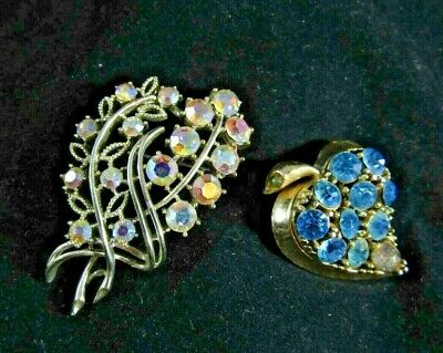 2 Vintage Women's Jewelry Silver Tone / Rainbow & Gold Tone Leaf / Blue Brooches