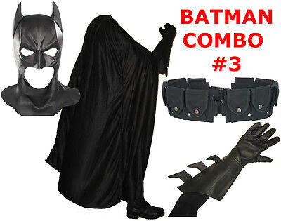 BATMAN The Dark Knight Rises costume cowl, cape, gloves, REAL black utility (Kostüm Utility Belt)
