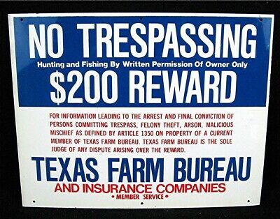 Old Texas Farm Bureau No Tresspassing Hunting or Fishing $200 Reward Tin Sign